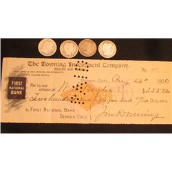 "Aug. 24th, 1900 Denver Colorado Check drawn on the account of ""The Downing Investment Company Stocks"
