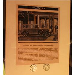 "Nov. 15th, 1930 Advertisement for ""The Lincoln"" Motor Car $4200, matted, & 1930 P & S U.S. Standing"