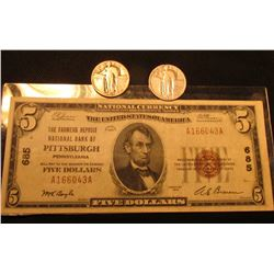 "Series 1929 Type One U.S. Five Dollar National Bank Note drawn on ""The Farmers Deposit National Bank"