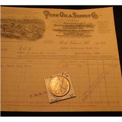 """Aug. 2nd, 1916 """"Penn Oil & Supply Co., Rock Island, Ill."""" Invoice for Gasoline & 1916 P Walking Libe"""