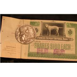 "Jan 4, 1911 ""Farmers Deposit National Bank"" Stock Certificate depicting ""Prince"" (depicts a Boxer or"