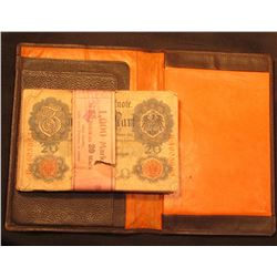 "A Leather Wallet ""Westfalische Maschinenfabrik"" made in Germany and a bundle of (50) pieces of June"