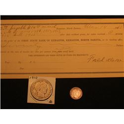 "Mar. 14, 1910 Promissory Note from ""First State Bank of Kenaston, Kenaston, North Dakota & 1910 P Ba"