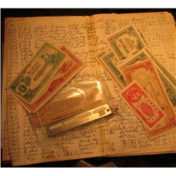 """1929-38 Check Records Ledger; """"Sutherland Auto Co."""" Service Metal Tab from Sutherland, Neb. """"Goodric"""