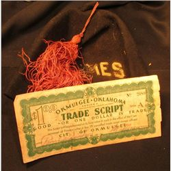 """Depression Scrip: $1 Series A """"Okmulgee.Oklahoma Trade Script"""" Stamps atteached and dated 1933; and"""