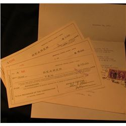 June 1, 1933 $1, $5, & $10 School Warrant Scrip from Bristol, Tenn. With a postmarked envelope and l