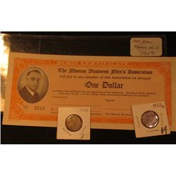 "1933 Depression Scrip: ""One Dollar The Monroe Business Men's Association…"", No. 2512. Blank, unsigne"