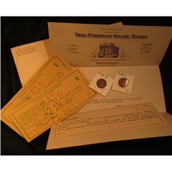 """1935 Postmarked envelope with letter from """"The Citizens State Bank New Castle, Ind."""" stating """"Dear S"""
