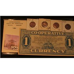 """Co-operative City of Sedalia, Missouri Currency"", $1 depression Scrip, No. 7214 with a Return envel"