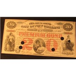 "$20 ""Premium Bond The City of New Orleans will pay Twenty Dollars"" Sept. 1st, 1875. Vignettes right"