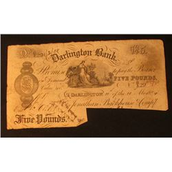"1884 ""Darlington Bank"" Five Pound Promissory Note from England. Postmarked on reverse, ink signature"