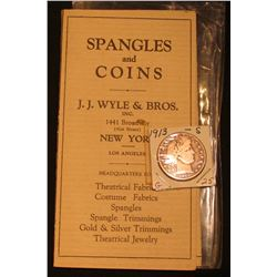 """Spangles and Coins"" J.J. Wyle & Bros. Sample brochure & 1913 S Barber Half-Dollar, G+."