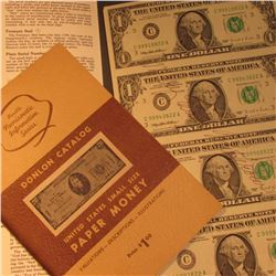 """Donlon Catalog United States Small Size Paper Money"" & Series 1995 Un-cut Sheet of four $1 Federal"