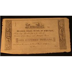 """Branch State Bank at Chicago"" One Hundred Dollars Note, unsigned. Depicts Paddle wheeler center."
