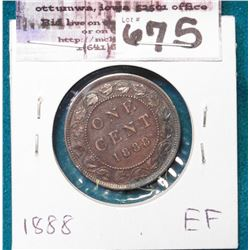 1888 Canada Cent, EF.
