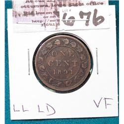 1891 Large Date, Large Leaves Canada Cent, VF.