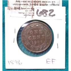 1896 Canada Cent, EF.