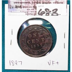 1897 Canada Cent, VF+.