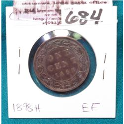 1898 H Canada Cent, EF.