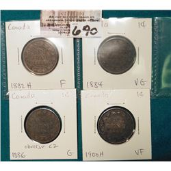 Lot Canada Large Cents: 1882H, 1884, 1886 obverse C2, 1900H Grading G-VF.