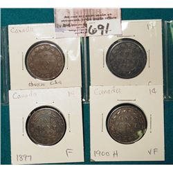 Lot Canada Large Cents: 1886 obverse C1a, 1887, 1897, 1900H Grading G-VF.