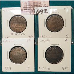 Lot Canada Large Cents: 1886 obverse C2, 1890H, 1899, 1900H Grading G-F.