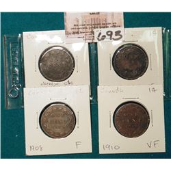 Lot Canada Large Cents: 1886 obverse C1a, 1900H, 1908, 1910 Grading G-VF.