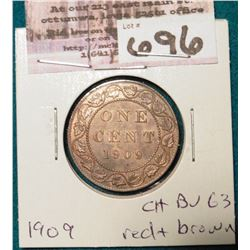 1909 Canada Large Cent. Choice BU 63 Red & Brown.