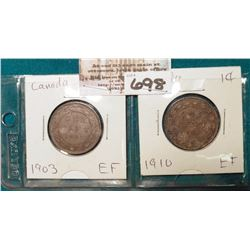 Lot Canada Large Cents: 1903 & 1910 both grading EF.