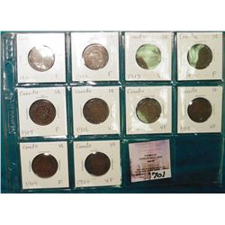 Complete 10 piece set 1911-1920 George V Canada Large Cents grading F-VF.
