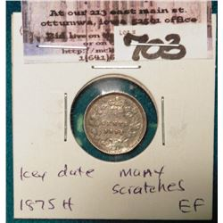 1875H Key date Canada Five Cent Silver. EF, but some scratches.