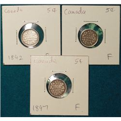 Lot of Canada Five Silvers: 1892, 1896, 1897 all Grading Fine.
