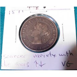 1871 Prince Edward Island Cent. Scarcer Variety with die axes, VG.