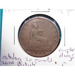 1871 British 1/2 Pence F Couple Dings, Catalog 20 Pounds 2014 British Coin Values.
