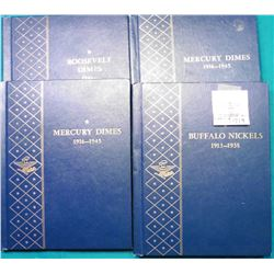 Lot of (4) Whitman Delux Coin Albums, (1) Buffalo Nickels 1913-1938, (2) Mercury Dimes 1916-1945 & (