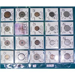 "(20) French Coins attributed by Country, KM #, Size, Mintage, and etc. in 2"" x 2"" holders and a Plas"