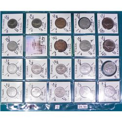 "(20)French Coins attributed by Country, KM #, Size, Mintage, and etc. in 2"" x 2"" holders and a Plast"