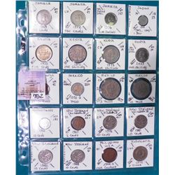 "(20) World Coins attributed by Country, KM #, Size, Mintage, and etc. in 2"" x 2"" holders and a Plast"