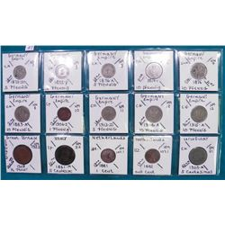 "(15) World Coins over 100 Years old, attributed by Country, KM #, Size, Mintage, and etc. in 2"" x 2"""