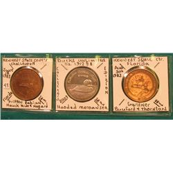 (2) Different Space Center Tokens and (1) Ducks Unlimited Medal depicting a Hooded Merganser. Catalo