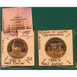 "(2) 1986 S U.S. State of Liberty Commemorative Half-Dollars in 2"" x 2"" holders."