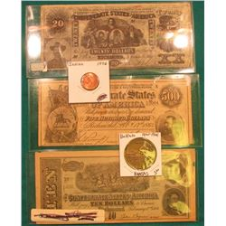 "(3) Counterfeit ""Confederate States of America"" Bank notes including a $500 note; 1976 Civil War Tok"