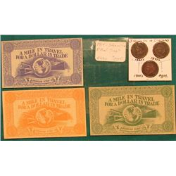 "Three-Piece Set of Steamship/Rail Road Scrip. ""A Mile in Travel for a Dollar in Trade"", American Scr"