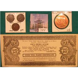 "25 Cent Scrip ""Joe's Smoke House ""The Store for Men"""", ""Good Will Radio Certificate"", ""Du Volla Radi"