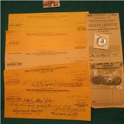 (8) Different WW II Food Rationing Checks and scrips including Fremont, Michigan, Francesville, Ind.