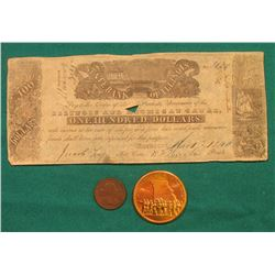 March 1st, 1840 State Bank of Illinois One hundred Dollars Illinois and Michigan Canal Broken Bank n