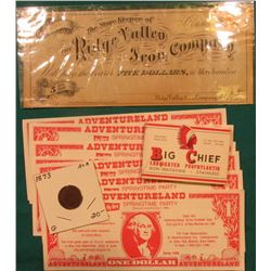 """October 1st, 1873 ""The Store Keeper of The Ridge Valley Iron Company of Georgia"" Five Dollar Scrip;"