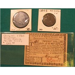 "July 2nd, 1780 ""State of Rhode-Island and Providence Plantations Twenty Dollar"" Colonial Bank note,"