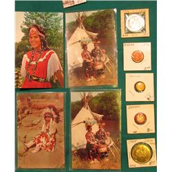 (4) Different Indian related Old Post Cards; (2) different Indian related Pin-backs; 1976 Civil War