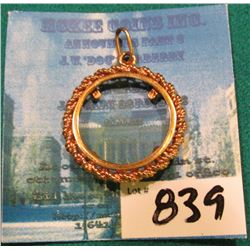 14K Gold Rope bezel for a U.S. $2.50 Dollar Gold Piece. New.